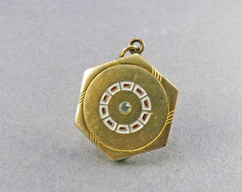 Vintage Locket Pendant White Enamel Locket Picture Locket Wedding Jewelry Antiques Collectibles