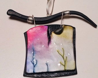 "Pendant, ""Magic winter..."", polymer clay, unique, handmade, original design, mixed media"
