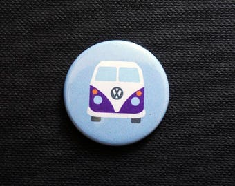 NEW ~ 'HAPPY CAMPER' ~ Blue ~ Button Badge ~ 25mm ~ Self Designed ~ Hand Pressed