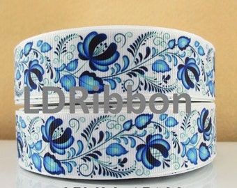 "1"" Pretty Blue Flower Grosgrain Ribbon"