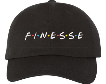 FINESSE Dad Hat , Baseball Hat , Low Profile Embroidered Baseball Cap, Finessed Dad Hats, Black
