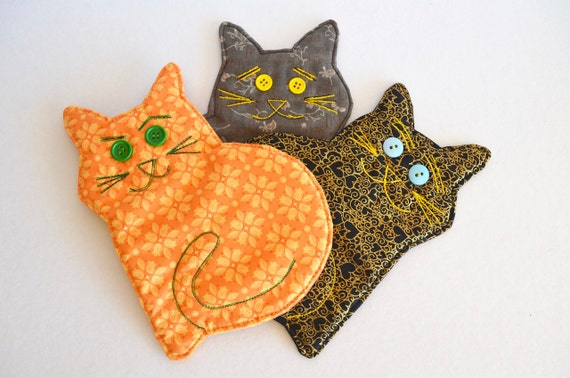 Cat coaster, drink mat, mug rug, scaredy cat, mad cat, ginger cat, cat lovers gift, cat owners gift, teacher gift,
