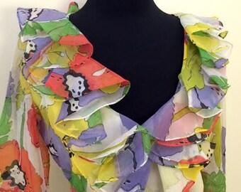 1970's Psychedelic Poppy Print Maxi Dress