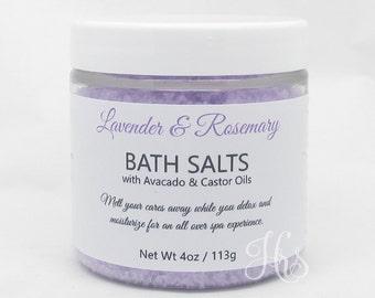 Soothing Mineral Bath Salts Soak - Lavender & Rosemary ~ Homemade Bath Salts, Handmade Bath Salts, Bath Soak, Spa