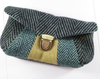 Donegal Tweed clutch bag - Tweed clutch bag, Tweed evening bag, Tweed purse, Green Tweed clutch bag,Tweed handbag,Tweed clutch,Donegal Tweed