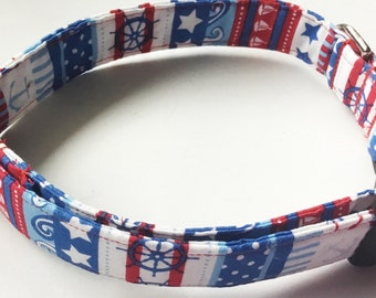 Red White & Blue Striped Nautical Dog and Cat Collar