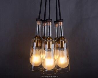 Wine bottle chandelier - hanging chandelier - pendant light - five wine bottles