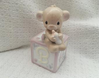 Precious Moments Baby Bank, 1990, Enesco Precious Moments, Teddy Bear on Block Bank, Samuel J Butcher Design, Porcelain Baby Bank