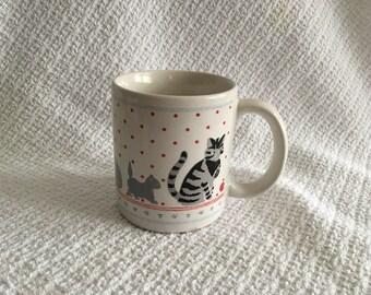 Cat Mug, The Love Mug, Kitty Mug, Cat Mug with Red Dots, Gray and Black Kitty Mug, Cat Lovers Mug, Cat Collectibles