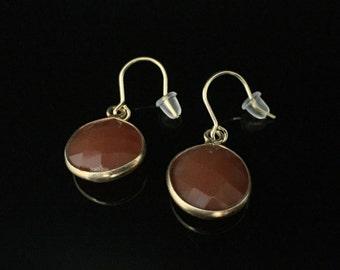 Carnelian Briolet Earrings // Gold Vermeil Findings // Genuine Carnelian