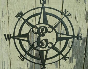 Metal Compass Rose, Monogram Compass Rose - Metal compass, Compass Rose, Nautical Compass, metal sign  C27  ANY letter