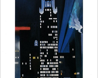 Georgia O'Keeffe American art vintage cityscape print New York skyscrapers by night urban art Radiator Building painting