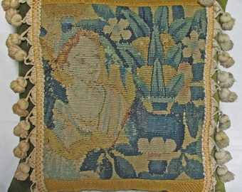 Antique 18th Century Flemish Cushion - Seated Child