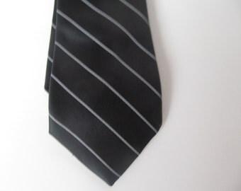 Black and White striped  Neck Tie - Bronzini  - 56''  x 2  7/8''