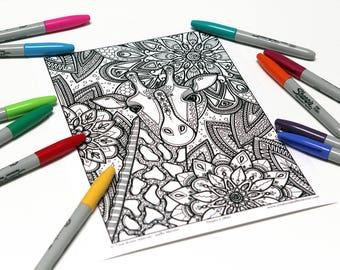 Mandala coloring, drawing #0892 printed on cardboard, coloring of relaxation, giraffe