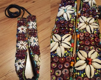 Vintage Shell and Beads embroidered belt /Emroidered belt /  Size S