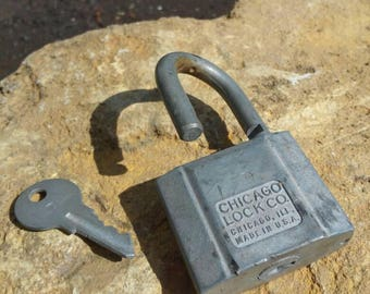 Vintage Padlock & Key by Chicago Lock Co.