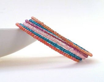 Memory wire bracelet. Multi color, turquoise and orange. Wrap bracelet.