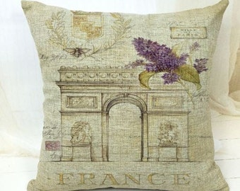 Vintage Arc De Triomphe Paris Pillow Cover