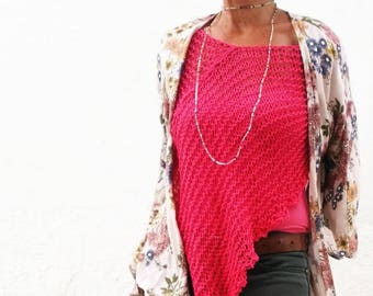 Loose knit poncho, summer poncho, fuchsia women top, hand knit poncho, fuchsia poncho, beach cover up, women poncho