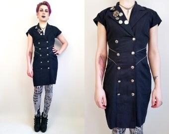 80s Dress 80s Clothing Button Up Dress Vintage Dress Size Small Mini Dress Little Black Dress Embellished Dress Cut Out Back Gold Buttons