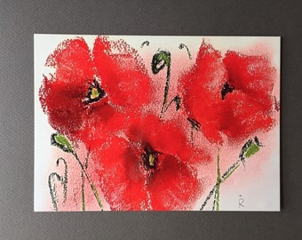 """Poppies #1. 5""""x7"""" Postcard with an white envelope."""