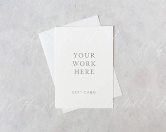 "Styled stock photography - 5x7"" stationery mockup - white card and envelope - High Res Jpeg + Psd Smart object - weddings, card, invitations"