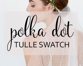 Tulle swatch, polka dot tulle swatch, polkadot tulle sample, dotted tulle sample swatch in off-white