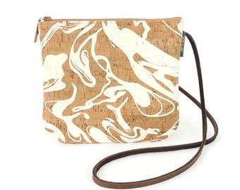 Cork Bag, Mini Crossbody Bag, Vegan Hands Free Bag, White Summer Bag, Festival Bag, Marbled Printed Purse, Small Shoulder Bag Zippered Pouch