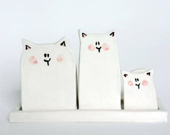 Trio of mini cats for very small plants