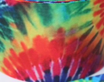 3 Inch Tye Dye Grosgrain Ribbon - Grosgrain Ribbon by the Yard for Hairbows, Scrapbooking, and More!!