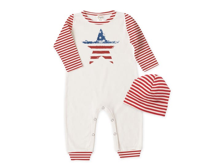 Baby Fourth of July Outfit, Newborn Coming Home Outfit, Baby Boy Girl Bodysuit & Hat Gift, Red Stripes, Patriotic Baby, Tesababe