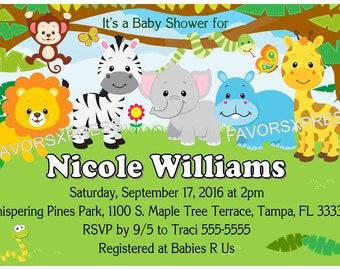 Jungle Safari Zoo Baby Shower invitations - DIY - INSTANT DOWNLOAD ~ Printable Digital File