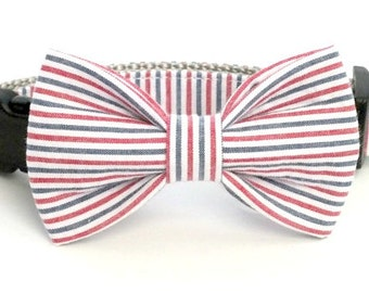 Americana Seersucker Dog bow tie ONLY, patriotic dog bow tie, ole miss, pet bow tie, collar bow tie, wedding bow tie
