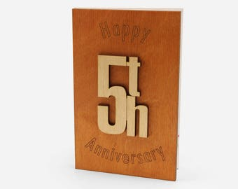 Happy 5th Anniversary wood Card - Original Wooden 5 Years Wedding Anniversary Gift for Him, Husband, Her, Wife.