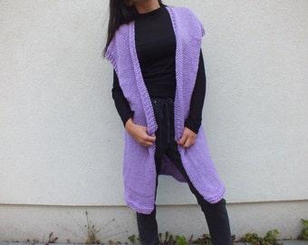 SALE Cardigan/ lavender cardigan/ Long cardigan sweater / Cardigan sweater vest
