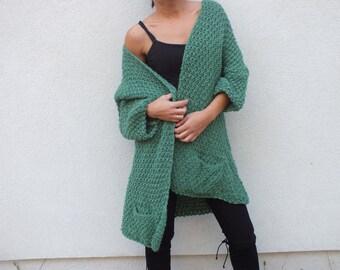 Cardigan sweater/ green wool cardigan/ Long cardigan sweater / Cardigan sweater vest