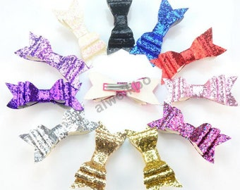 Glitter Hair Clips, hair bows, Baby Girl Hair Clips, Glitter Hair bows CWH100004