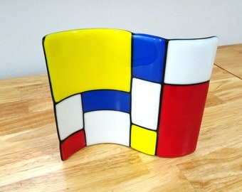 Fused Glass Mondrian Style Panel With Red, Yellow, White and Blue Design With Black Accents. Fused Glass Art,