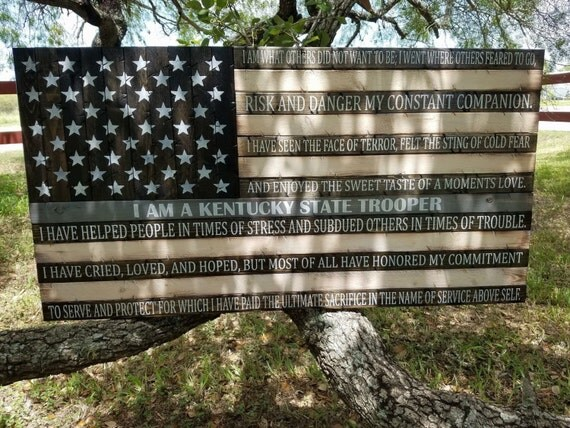 Thin Grey Line Flag with Kentucky State Troopers' Creed