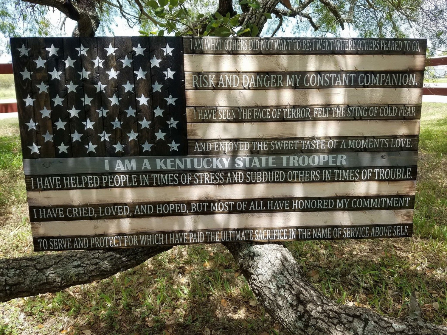 Thin Grey Line Flag With Kentucky State Troopers Creed