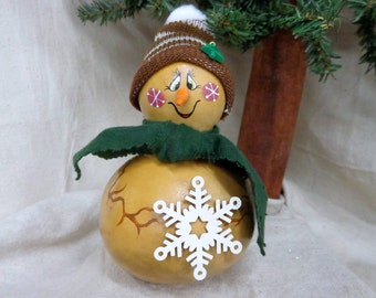 Hand crafted and hand painted primitive snowman gourd with green scarf and brown toboggan by Debbie Easley