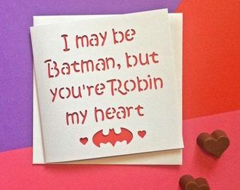 Valentine's card, Valentine's day card, valentine card, card for girlfriend, card for wife, girlfriend valentine, batman card