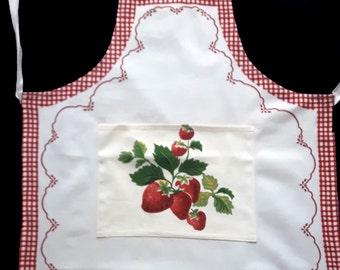 Cream white apron with strawberries