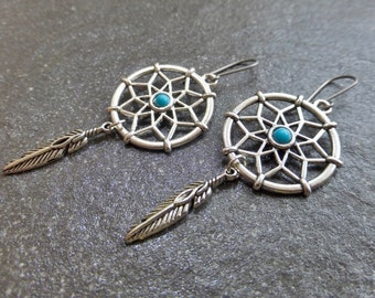 Silver Dreamcatcher Earrings With Turquoise Blue Inlay & Single Feather - Hypoallergenic Titanium Ear Wires - Tribal - Boho - Gypsy