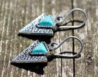 Small Southwestern Silver Triangle Arrowhead Earrings With Turquoise Inlay & Hypoallergenic Titanium, Niobium OR Sterling Silver Ear Wires