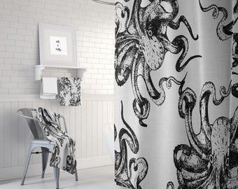 Octopus Shower Curtain ,Bathroom Set, Bath Mat, Towels (Optional)