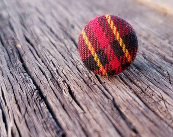 Preppy tartan plaid Tie Tack - red yellow and black plaid - lapel scatter pin accessories for men