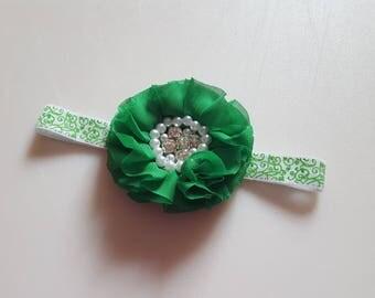 GREEN Chiffon Ruffled Pearl Rhinestone Flower Headband