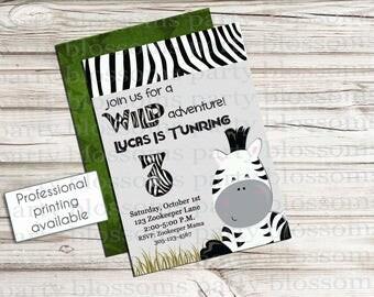 Customizable Boy or Girl Zoo or Safari Party Invitation - Printable - Tiger, Giraffe, Zebra